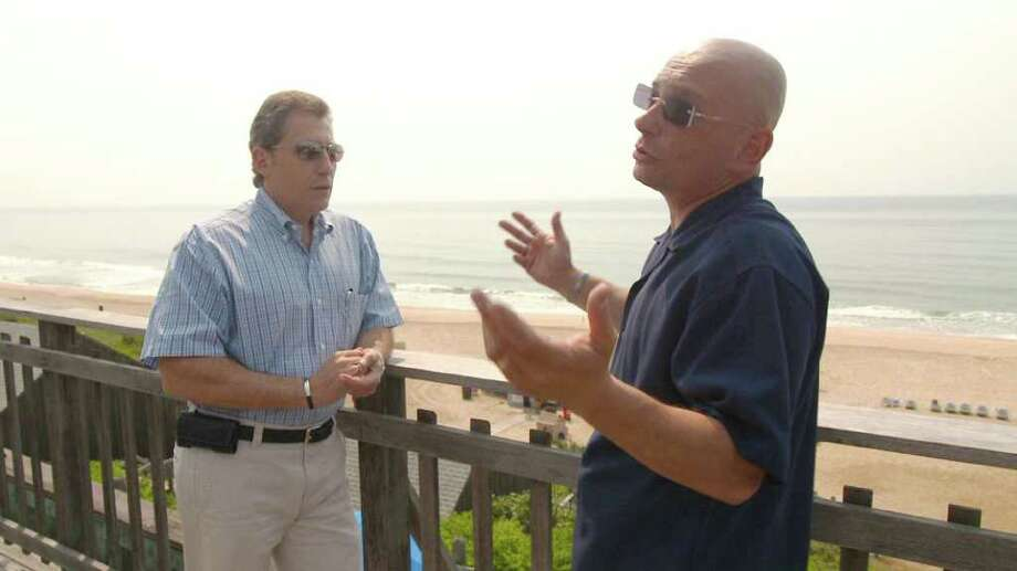 Hotel Impossible's Anthony Melchiorri and Gurney's Inn general manager Paul Monte discuss the future of the hotel. Photo: Travel Channel