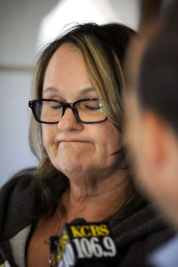 Long time friend Linda Music speaks with the media  at the home of Oikos Administrator Ellen Cervellon in the Piedmont area of Oakland CA Wednesday, April 4th, 2012. Ellen Cervellon was an alleged target of Oikos University shooting suspect One Goh. Photo: Michael Short, Special To The Chronicle