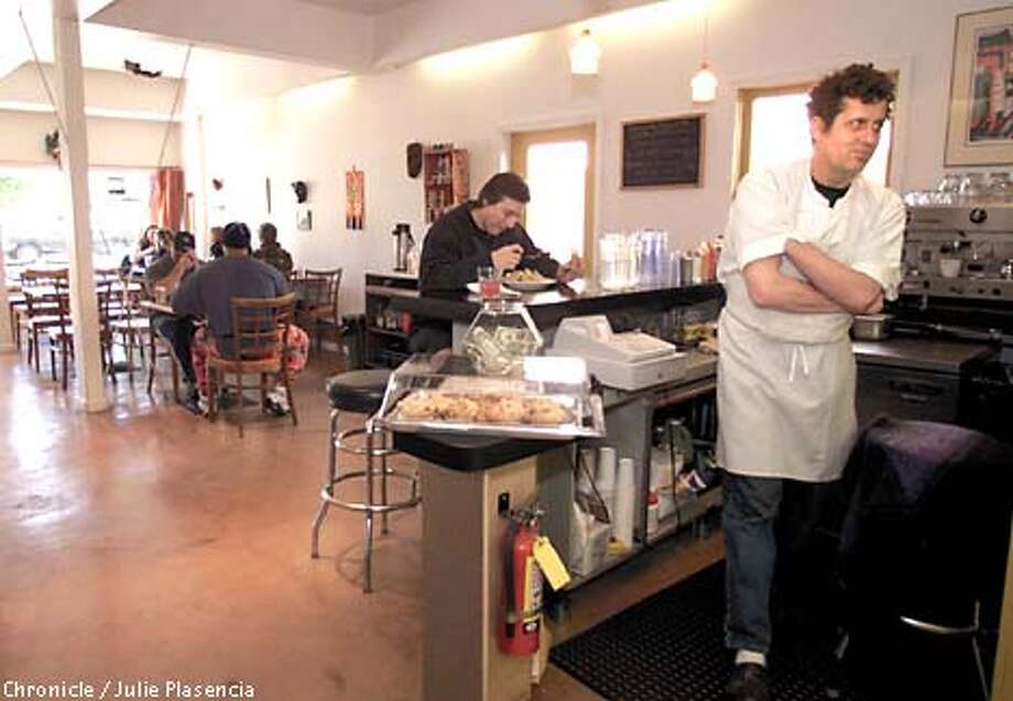 Chef and par-owner Jimmy Carter takes a break behind the counter after a feeding the luch crowd at Meal Ticket in Berkely. (JULIE PLASENCIA/SAN FRANCISCO CHRONICLE) Photo: JULIE PLASENCIA