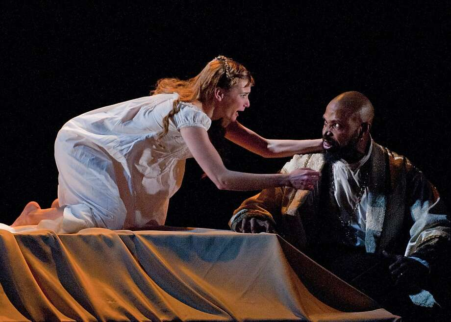 """Desdemona (Mairin Lee) pleads for her life against the jealous rage of her husband Othello (Aldo Billingslea)  in Marin Theatre Company's """"Othello, the Moor of Venice"""" Photo: David Allen"""