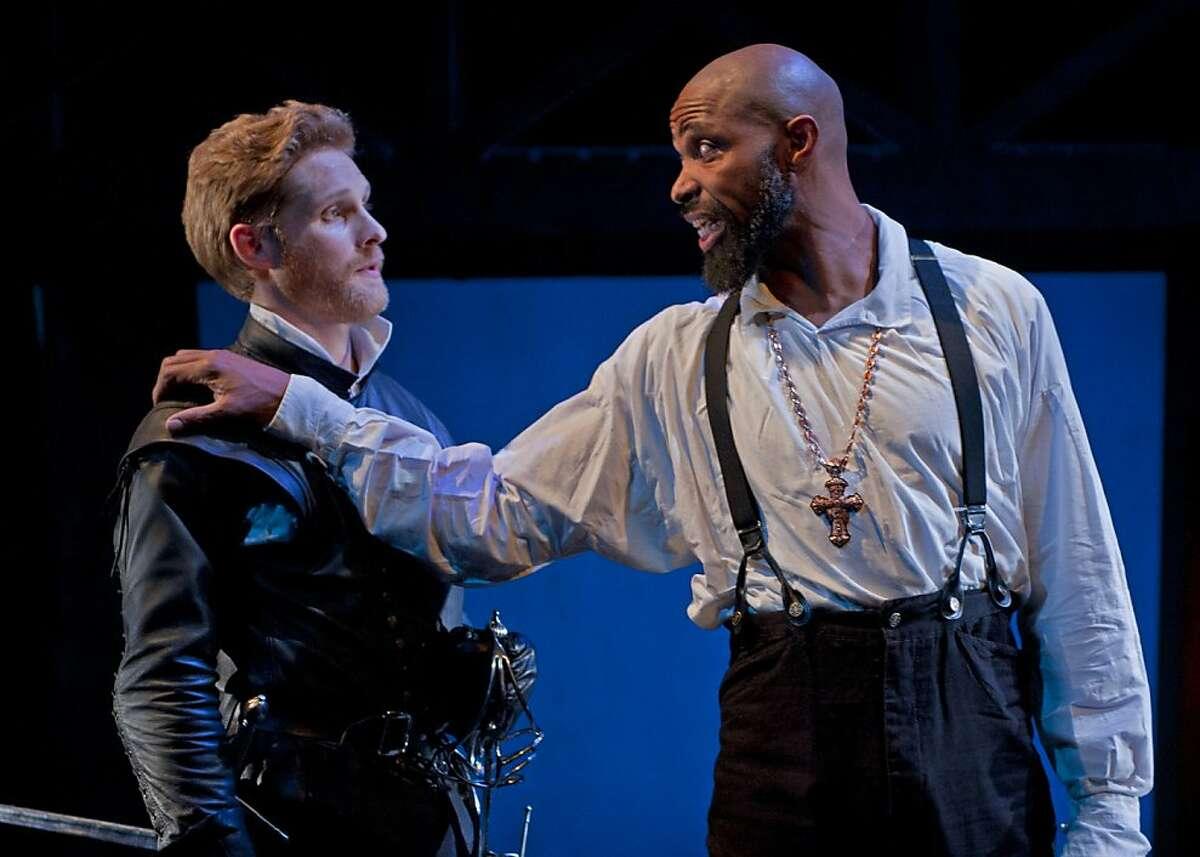 Othello (Aldo Billingslea, right) commends his trusted aide Iago (Craig Marker) in Marin Theatre Company's