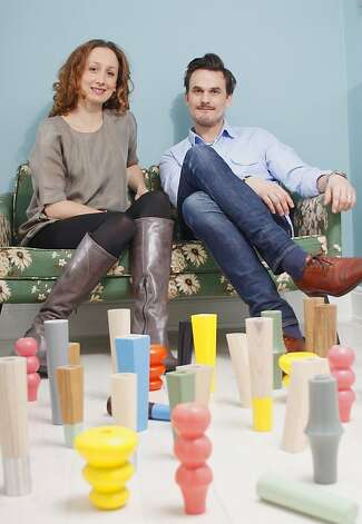 Jana Cagin and Mikael S derblom, creators of  Prettypegs for Ikea beds and sofas. Photo: Pretty Pegs