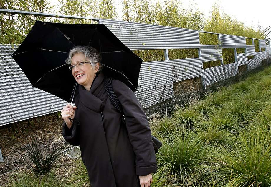 Andrea Cochran walks past a fence she created out of aluminum in the Mission Bay area of San Francisco. Andrea Cochran, one of the most celebrated landscape architects in San Francisco, Calif., does private homes, low income housing complexes and is even on the design team of the new Salesforce campus. Photo: Brant Ward, The Chronicle