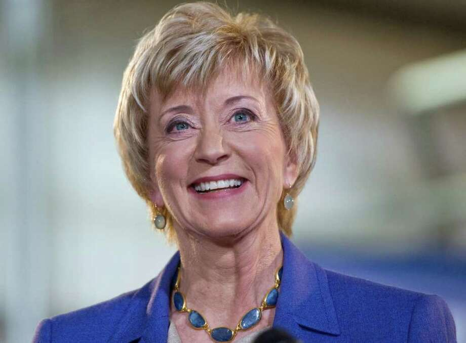 Republican Senate hopeful Linda McMahon smiles during a news conference in March. (AP Photo/Jessica Hill) Photo: Jessica Hill, Associated Press / AP2012