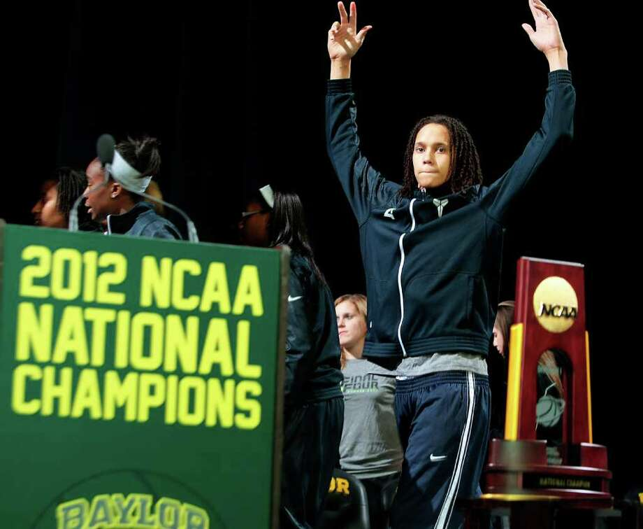 Baylor's Brittney Griner responds to the crowd following a welcome-home celebration for the national champion Baylor women's basketball team, Wednesday, April 4, 2012, in Waco, Texas. Baylor defeated Notre Dame 80-61 in the NCAA Women's Final Four college basketball championship game on Tuesday, April 3, in Denver. Photo: Jerry Larson, Associated Press / The Waco Tribune-Herald