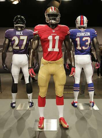 c949b3ab The new San Francisco 49ers uniform is displayed on a mannequin in New  York, Tuesday