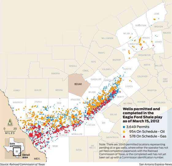 Wells permitted and completed in the Eagle Ford Shale play as of March 15, 2012. For a larger ver