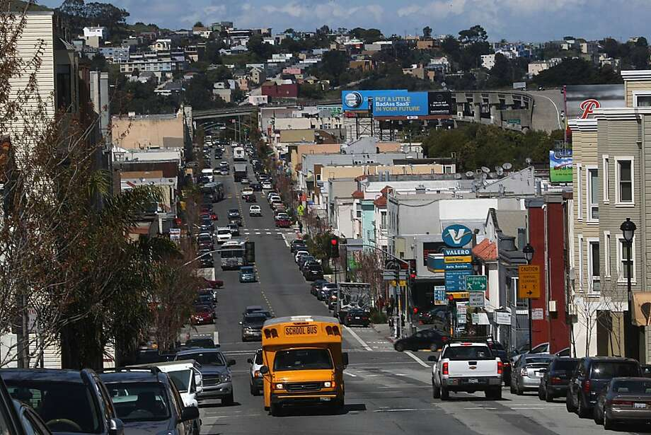 The San Bruno Ave. commercial district in San Francisco, Calif.,  on Wednesday, April 4, 2012. Photo: Liz Hafalia, The Chronicle