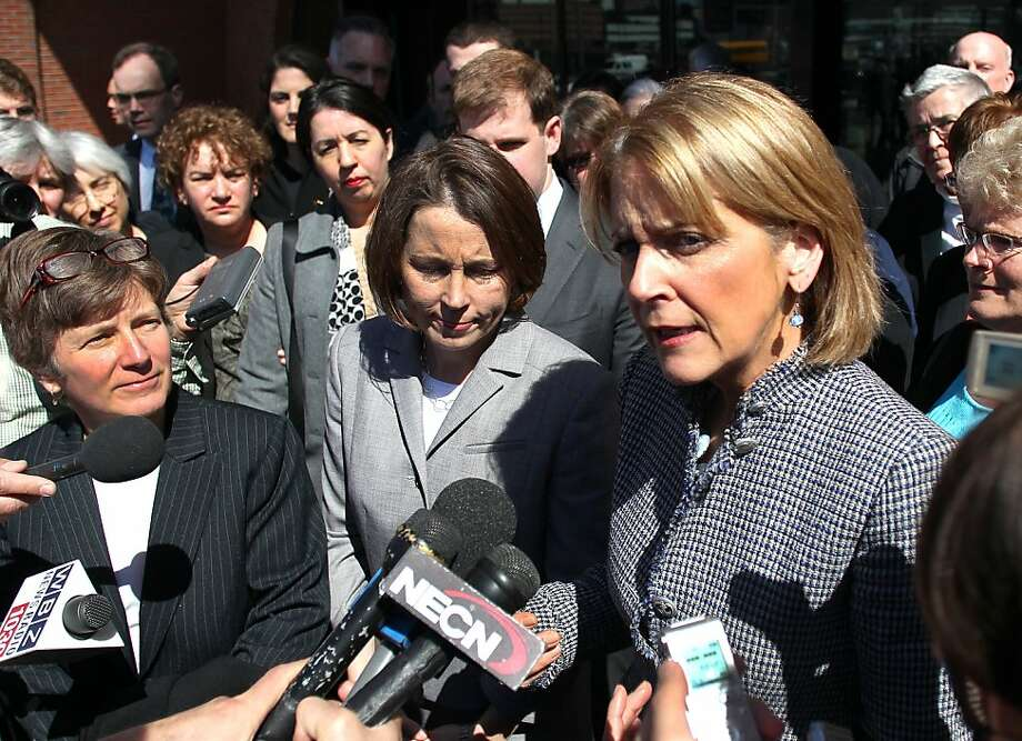 Attorney General Martha Coakley, right, addresses reporters outside, along with Mary Bonauto, an attorney for GLAD, and Maura Healey, center,  the Chief of Public Protection and Advocacy Bureau with the AG's office at the U.S.Court of Appeals at the Moakley Federal Court on Wednesday April 4, 2012 in Boston. Lawyers for a gay and lesbian legal advocacy group have a told a federal appeals court panel that a federal law that denies benefits to married gay couples that heterosexual couples get is discriminatory.  (AP Photo/The Boston Globe, John Tlumacki ) Photo: John Tlumacki, Associated Press
