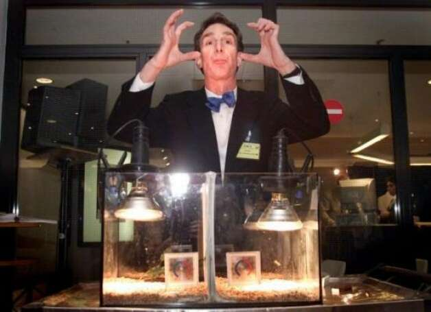 Bill Nye the Science Guy became Bill Nye the Dead Guy after news parody website the Onion reported that he'd died in a freak Vinegar/Baking-Soda Explosion. Funny but untrue.  (AP)