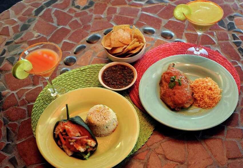 Aldaco's Reverse Veracruz Chile Relleno, left and the standard chile relleno. Grapefruit martini at left, avocado martini on right.