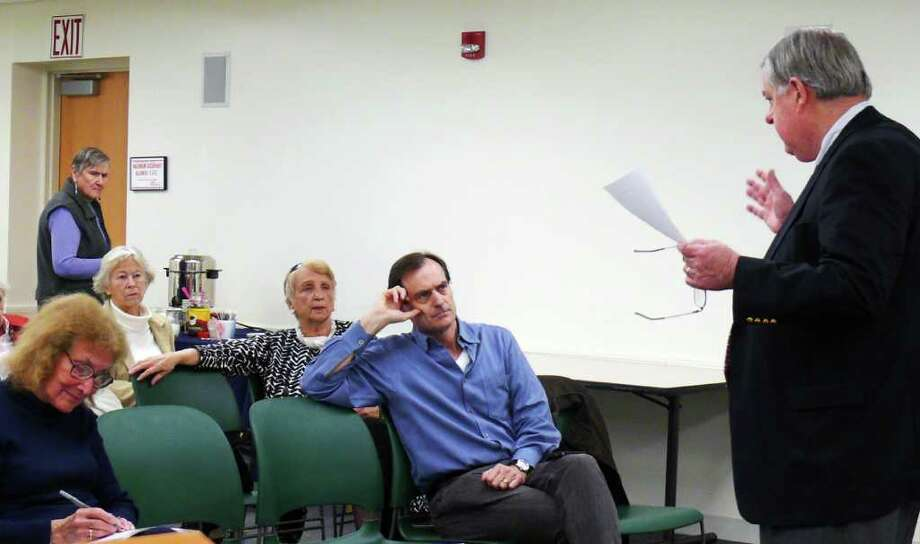 Fiscal Officer Paul Hiller discusses the town budget at a League of Women Voters' brown bag lunch Thursday. Photo: Genevieve Reilly / Fairfield Citizen