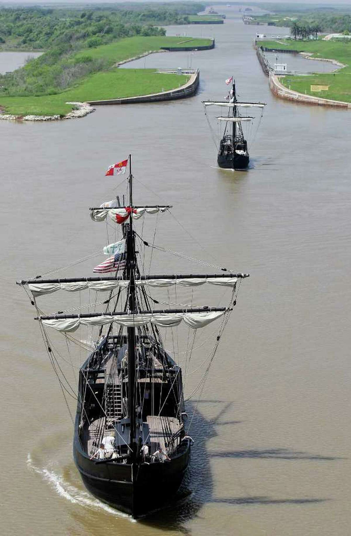 Living History sails into Matagorda Harbor as replicas of Columbus' ships the Pinta (left front) and the Nina pass through the Colorado River Locks to dock at Matagorda Harbor in 2012. The ships are now docked at Corpus Christi's Museum of Science and History. One is scheduled to be demolished.