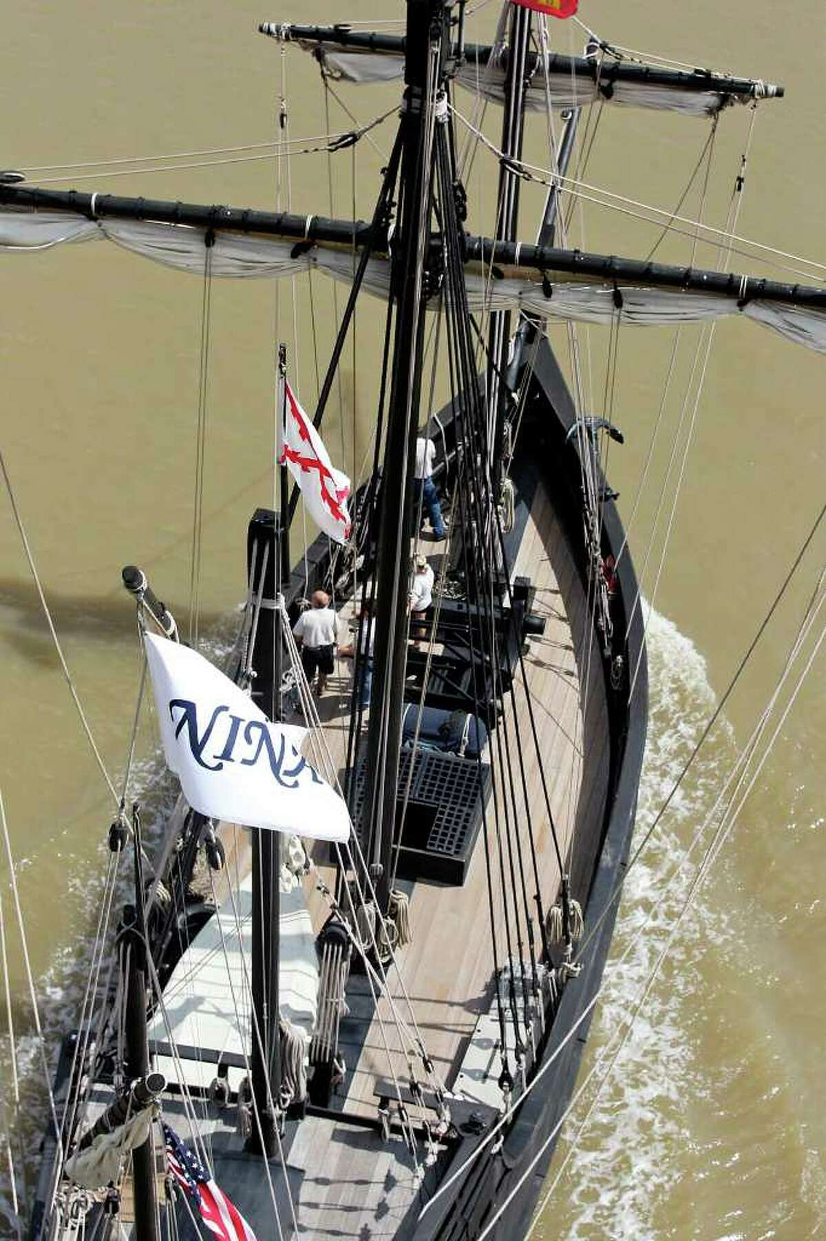 In this file photo, a replica of Columbus' ship the Nina passes under the Matagorda Bridge on its way to dock at Matagorda Harbor with the Pinta (not pictured).