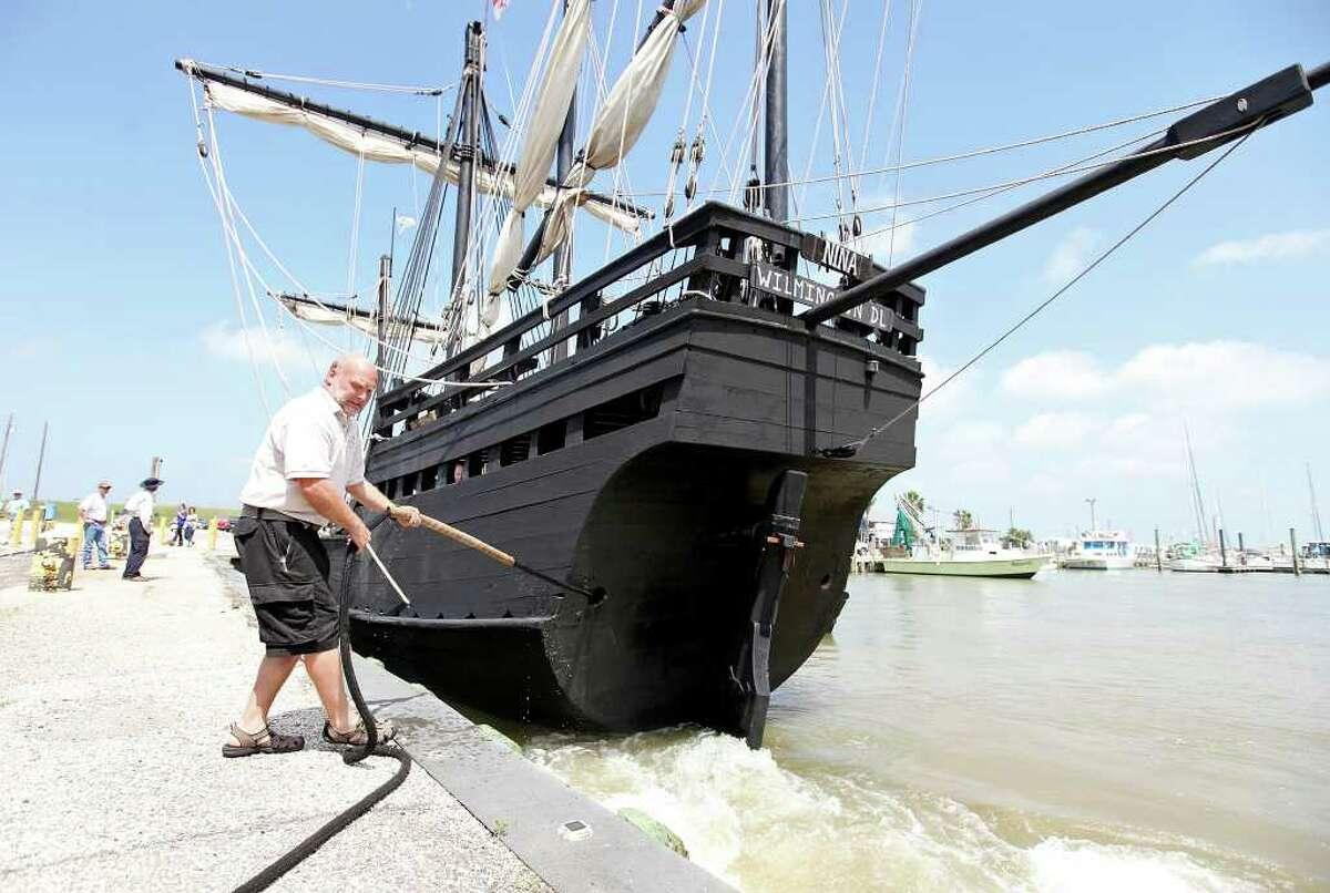 Vic Bickel, 51 of Folsom, CA, the first mate of the Nina, mans the stern line. The Nina which was built by hand in Valenca, Brazil, is considered the most historically accurate Columbus replica ship ever built.
