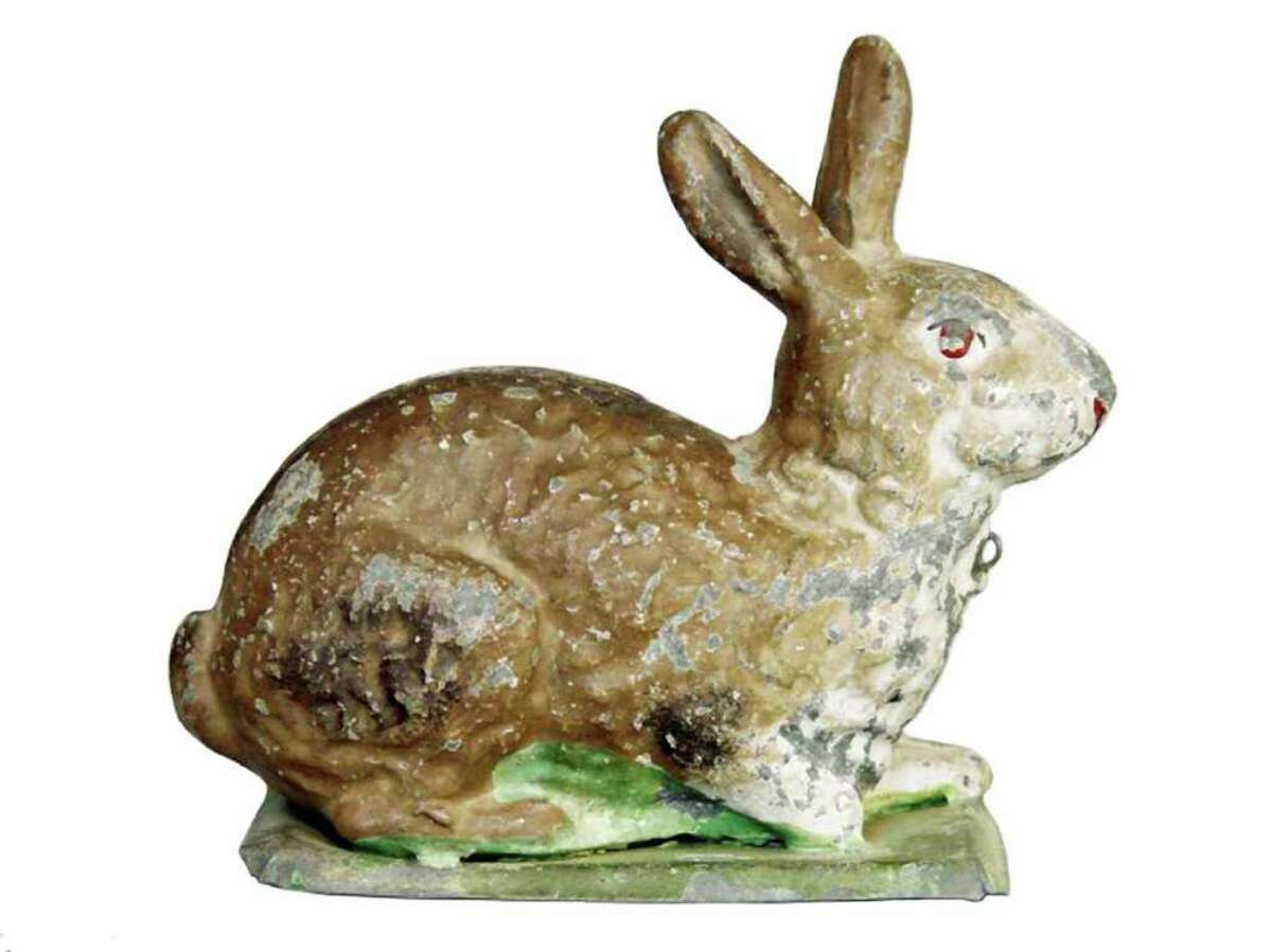 This life-size cast-iron rabbit sits on a grass-green base. It was made in Germany in about 1920 and sold at RSL Auction Co. for $55. You can keep it in your garden, but bring it inside to use as an Easter dinner centerpiece.