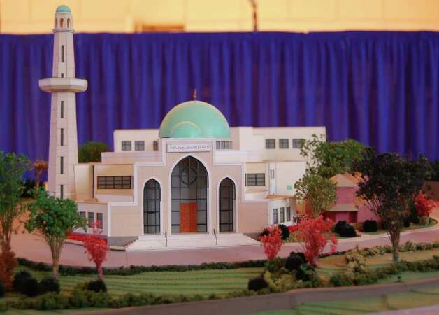 A model of the proposed Al Madany Islamic Center mosque that would be located at 127 Fillow St. Photo: Nicole Rivard/Staff Photographer