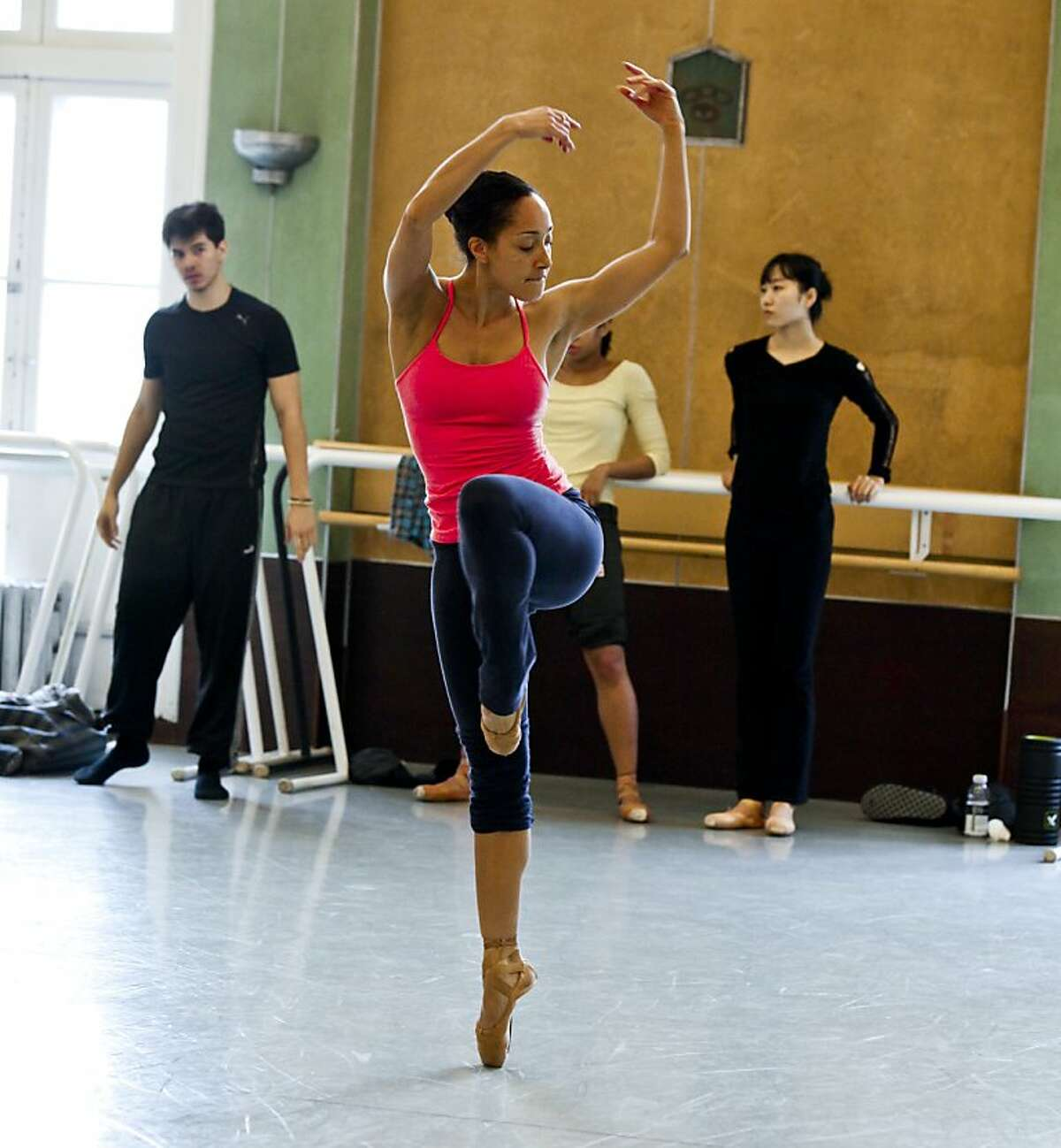 Caroline Rocher of Lines Ballet rehearses on Friday, March 16, 2012 in San Francisco, Calif.