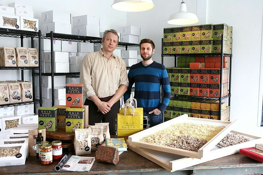 Baia Pasta, founded by Renato Sardo (left) and Dario Barbone, specializes in brass-extruded and artisanal produced pasta. Photo: Sarah Adler
