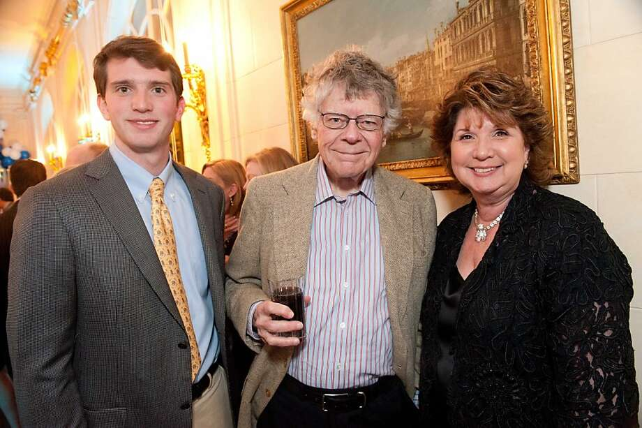Gordon Glogau (at left) with Gordon Getty and his mom, Pam Glogau at the Snuggly Soiree. March 2012. By Drew Altizer. Photo: Drew Altizer, Special To The Chronicle