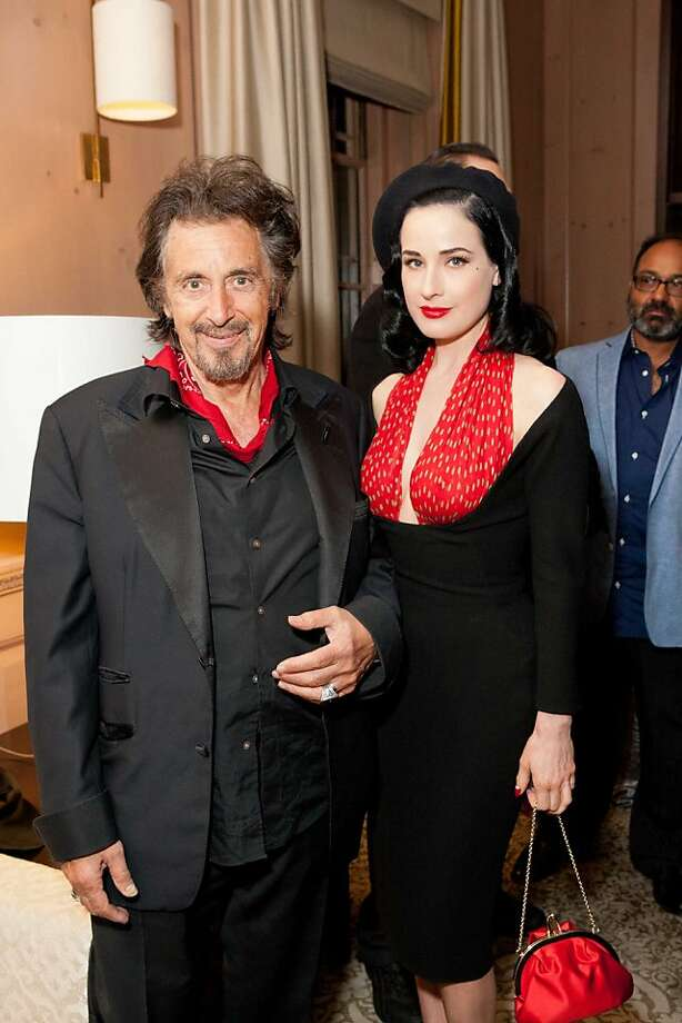 Director/actor Al Pacino with Dita Von Teese the U.S. debut of Al Pacino's Wilde Salome, a documentary on the life of Oscar Wilde at the Castro Theatre on March 21. Photo: Claudine Gossett, Claudine Gossett For Drew Altize