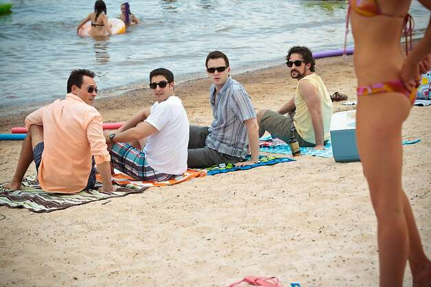 "(L to R) Oz (CHRIS KLEIN), Jim (JASON BIGGS), Finch (EDDIE KAYE THOMAS) and Kevin (THOMAS IAN NICHOLAS) are together again in ""American Reunion"". In the comedy, all the ""American Pie"" characters we met a little more than a decade ago return to East Great Falls for their high-school reunion. Photo: Hopper Stone, Universal Pictures"