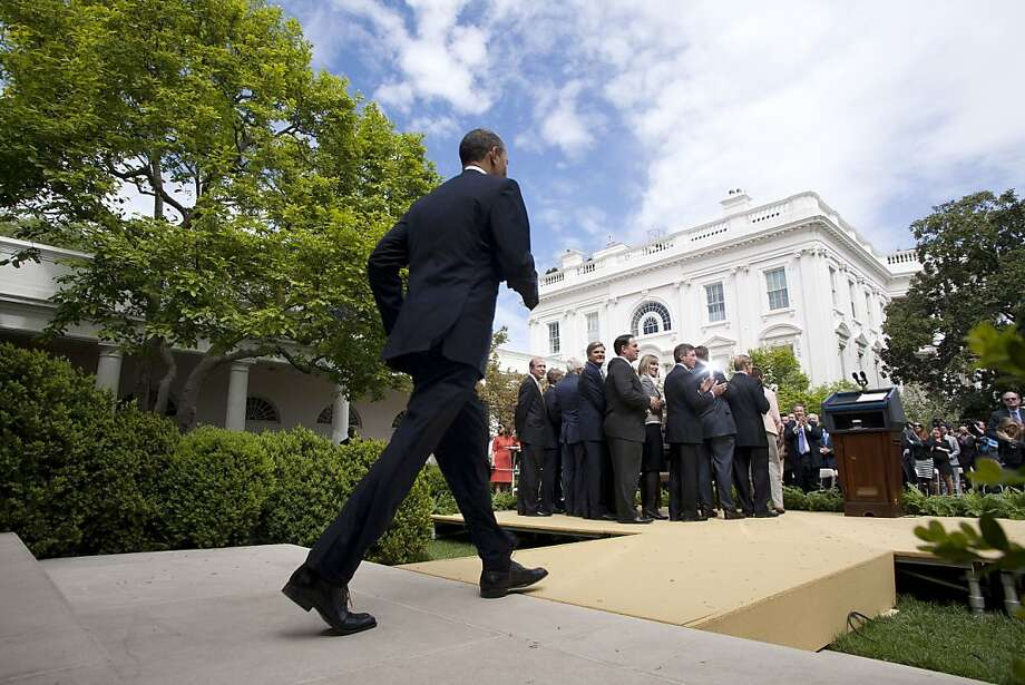 U.S. President Barack Obama arrives to sign the Jumpstart Our Business Startups (JOBS) Act in the Rose Garden of the White House on April 5 2012 in Washington, DC. The JOBS Act, which was passed with a broad bi-partisan majority, will relieve small businesses seeking to raise capital from burdensome regulations. Photo: Joshua Roberts, Getty Images