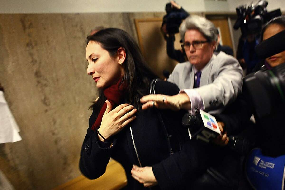 Eliana Lopez, wife of Sheriff Ross Mirkarimi, walks through the Hall of Justice after leaving Department 24 on Thursday, January 26, 2012 in San Francisco, Calif.