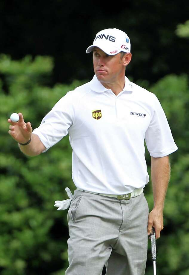 AUGUSTA, GA - APRIL 05:  Lee Westwood of England waves to fans on the 11th green during the first round of the 2012 Masters Tournament at Augusta National Golf Club on April 5, 2012 in Augusta, Georgia.  (Photo by Jamie Squire/Getty Images) Photo: Jamie Squire