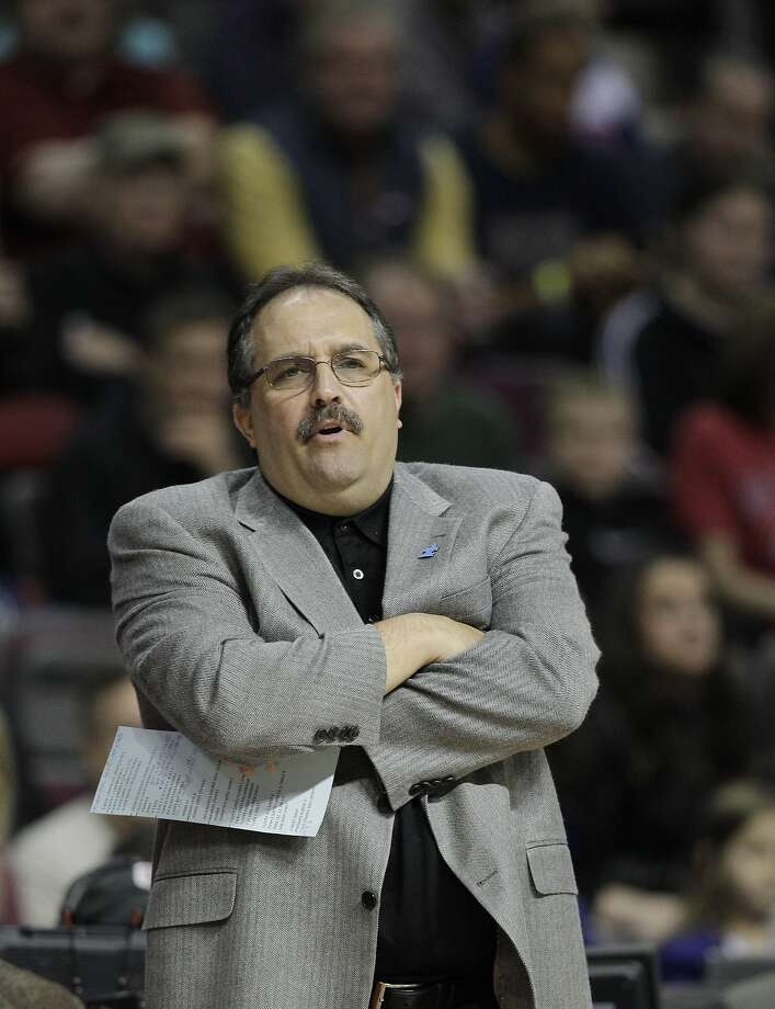 Orlando Magic head coach Stan Van Gundy watches from the sidelines during the first quarter of an NBA basketball game against the Detroit Pistons at the Palace in Auburn Hills, Mich., Tuesday, April 3, 2012. (AP Photo/Carlos Osorio) Photo: Carlos Osorio, Associated Press