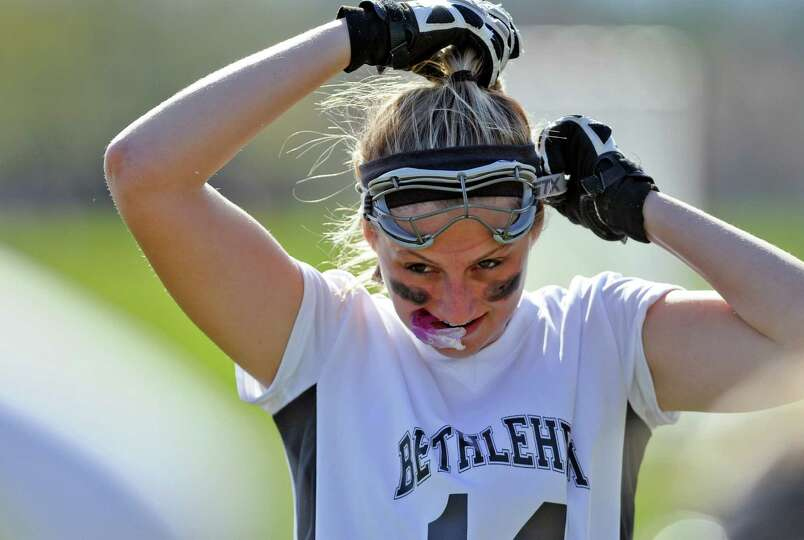 Bethlehem lacrosse player Tori McGrath before the start of their 18-2 victory over Averill Park on T