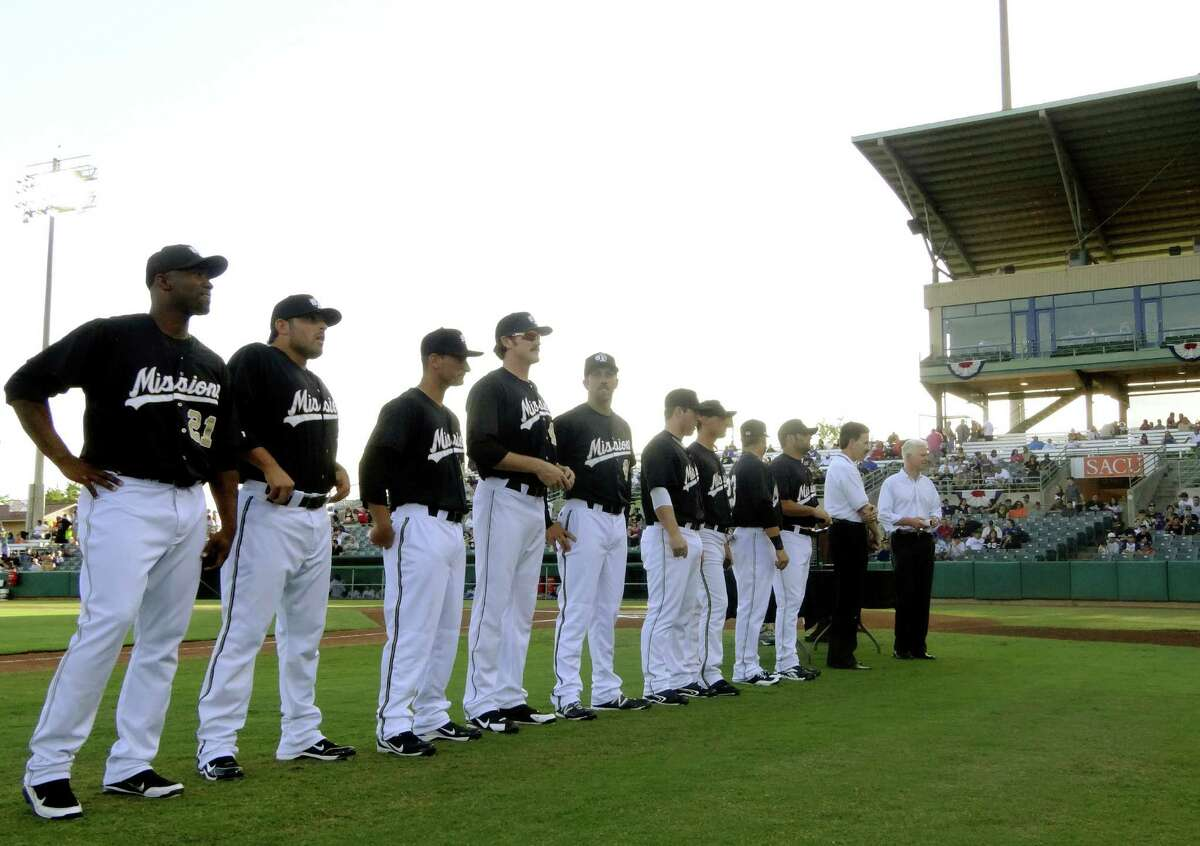 Members of the San Antonio Missions that were on last year's Texas League Championship team are presented to fans before their game against the Tulsa Drillers on opening night, Thursday, April 5, 2012.