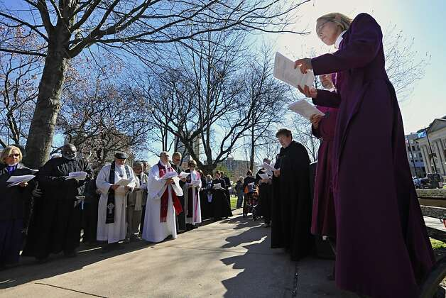 In this April 3, 2012, file photo, connecticut religious leaders who oppose the death penalty stop for a prayer during a march to the state Capitol for a rally in favor of repealing the punishment at state level in Hartford, Conn., Tuesday, April 3, 2012. The state Senate voted Thursday, April 5, 2012, to abolish the death penalty. The bill, which has the support of the state's Democratic governor, next goes to the Democrat-controlled House of Representatives, where it's expected to win approval. Photo: Jessica Hill, Associated Press