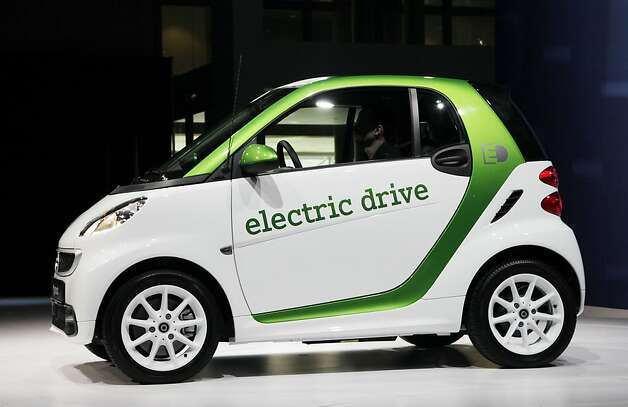 A 2013 Mercedes-Benz electric drive Smart Car is displayed, Wednesday, April 4, 2012 at the New York International Auto Show. (AP Photo/Mark Lennihan) Photo: Mark Lennihan, Associated Press