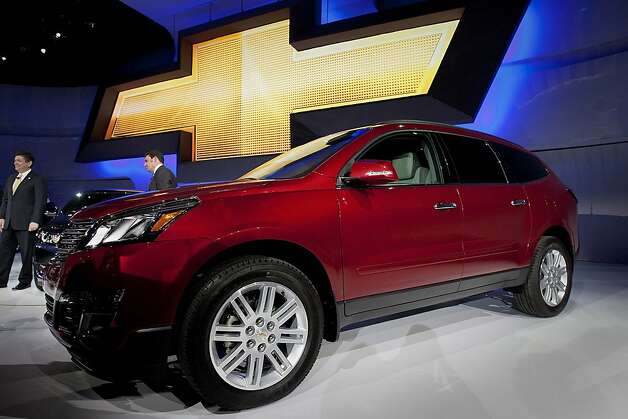 The General Motors Co. (GM) Chevrolet Traverse stands before a news conference at the New York International Auto Show in New York, U.S., on Wednesday, April 4, 2012. Mark Reuss, president of GM North America, discussed the outlook for sales of the Chevrolet Volt plug-in hybrid car and Cadillac vehicles. Photographer: Scott Eells/Bloomberg Photo: Scott Eells, Bloomberg