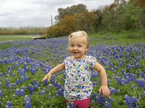 A Houston Chronicle reader sent in this photo of a child in the bluebonnets for chron.com's wildflower map. It was taken along Highway 71 near Interstate 10. (Unknown)