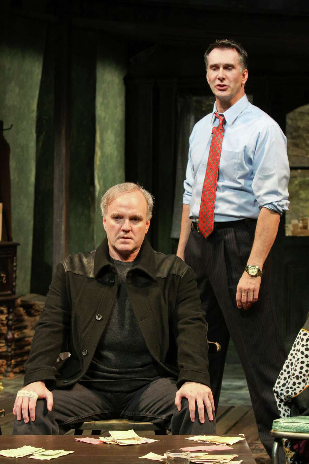 """(For the Chronicle/Gary Fountain, April 3, 2012) James Black as James """"Sharky"""" Harkin, left, and Todd Waite as Mr. Lockhart, in this scene from Alley Theatre's Houston premiere of Irish playwright Conor McPherson's """"The Seafarer."""""""