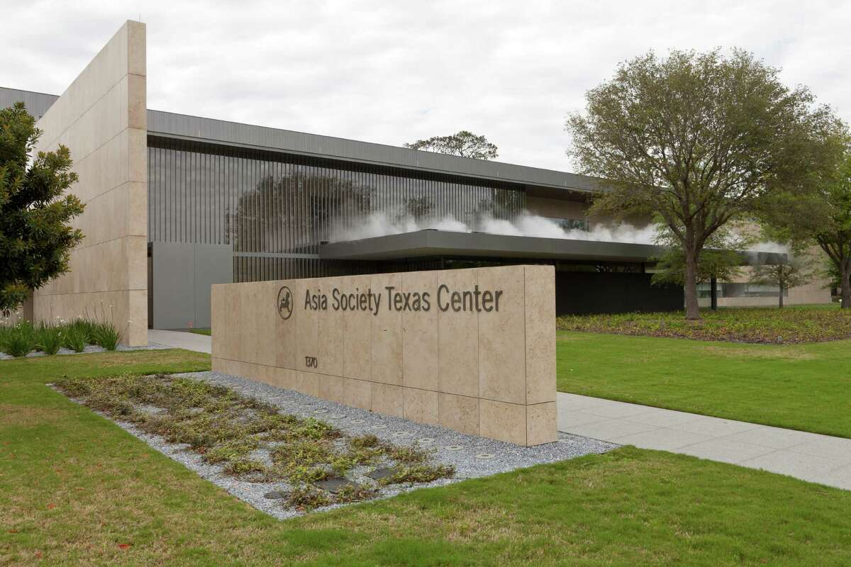 Mist rises from a rooftop water garden at the Asia Society Texas Center, designed by Yoshio Taniguchi.