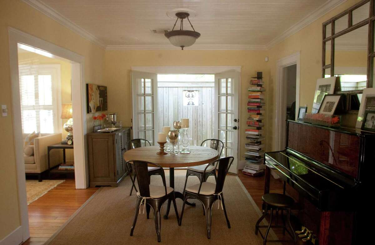 David Coleman and Abigail Mayo's dining room is a combination of old and new furniture.