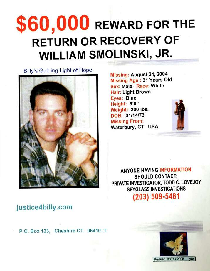 A flyer containing information about missing person William Smolinski, who was last seen in 2004. Family members and volunteers distributed flyers at local businesses throughout the Valley Saturday July 10, 2010 to spread awareness about the continued search efforts for Smolinski. Smolinski's mother said on Friday, April 6, 2012 that the family is hoping state police will revive the search for Smolinski in a section of woods in Shelton where the family believes Smolinski was last seen. Photo: Autumn Driscoll, ST / Connecticut Post