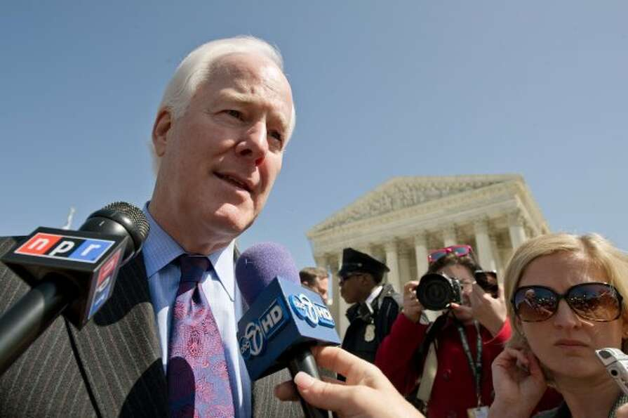 John Cornyn is interviewed after leaving the US Supreme Court in Washington, DC after the morning se