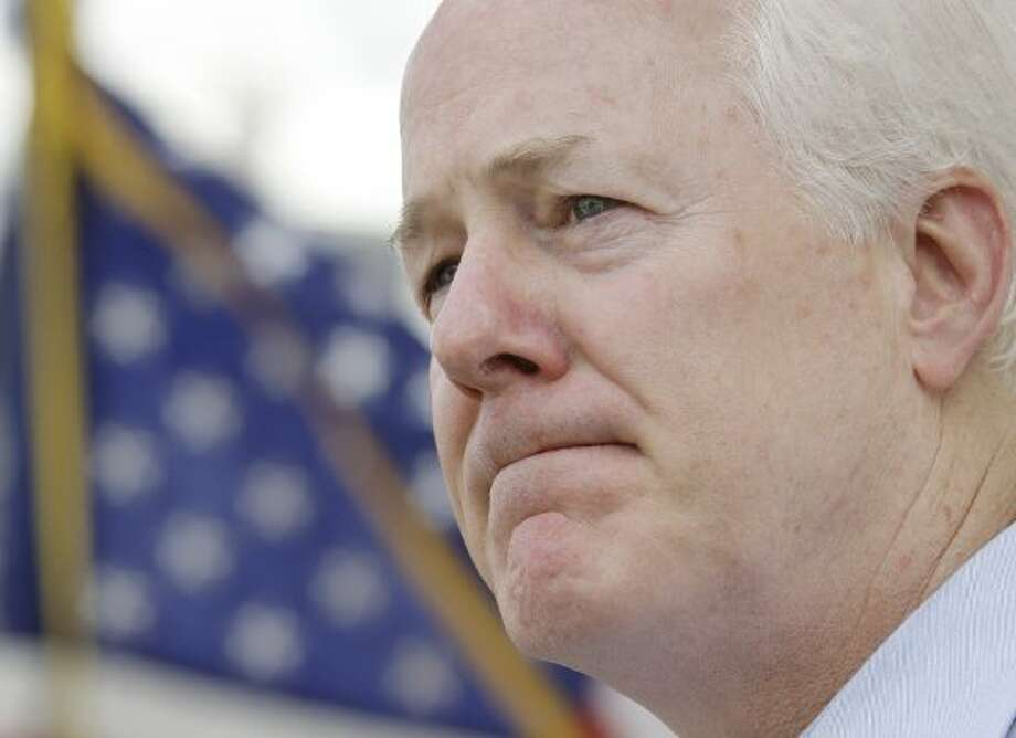 Sen. John Cornyn during a news conference after taking a tour of the Port of Hidalgo on Friday, Aug. 27, 2010, in Hidalgo, Texas. (Eric Gay / The Associated Press)