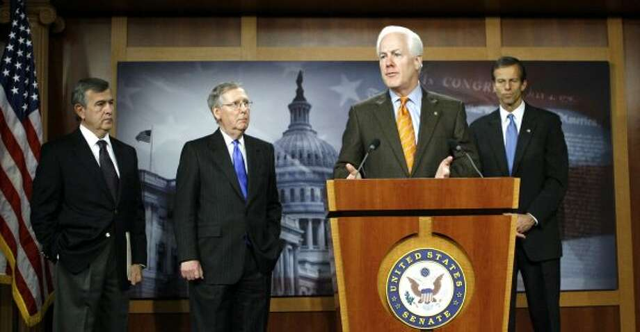 Sen. John Cornyn speaks during a news conference on Capitol Hill in Washington, Saturday, Dec. 5, 2009. (Jose Luis Magana / The Associated Press)