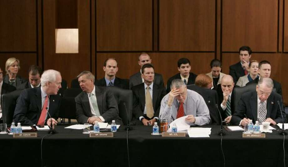 Republican members of the Senate Judiciary Committee, including Sen. John Cornyn, participate in the committee's markup vote on Supreme Court nominee Sonia Sotomayor, Tuesday, July 28, 2009, on Capitol Hill in Washington. (Susan Walsh / The Associated Press)
