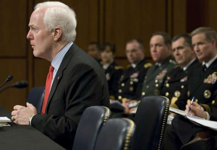 John Cornyn makes remarks at a hearing on the incidence and prevention of military suicides by the Personnel Subcommittee of the Senate Armed Services Committee in Washington, March 18, 2009. (Jonathan Ernst / For the Chronicle)