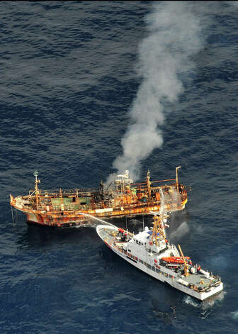 The Japanese fishing vessel Ryou-Un Maru begins to sink and list to starboard after receiving significant damage from the Coast Guard Cutter Anancapa crew firing explosive ammunition into it 180 miles west of the Southeast Alaskan coast April 5, 2012. The derelict fishing vessel sank at 6:15 p.m. in 6,000 feet of water. Photo: USCG / US COAST GUARD