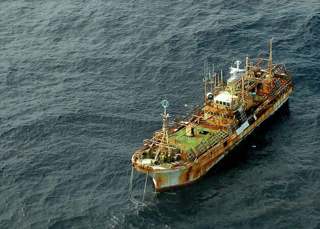 The unmanned Japanese fishing vessel Ryou-un Maru drifts northwest approximately 164 miles southwest of Baranof Island April 4, 2012. The Coast Guard is monitoring the vessel, which is currently considered a hazard to navigation, and working to determine the best way to respond to the vessel's presence in U.S. waters. Photo: Petty Officer 1st Class Sara Francis / USCG