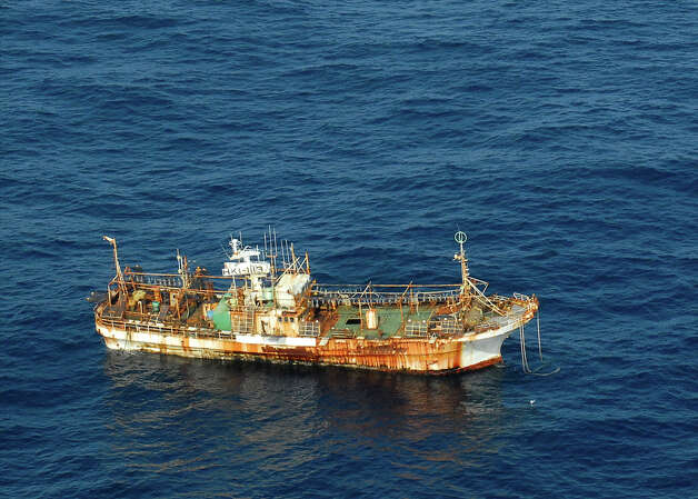 The Japanese fishing vessel Ryou-un Maru drifts northwest approximately 164 miles southwest of Baranof Island April 4, 2012. The vessel, confirmed to be unmanned, was set adrift in 2011 by the earthquake and subsequent tsunami in Fukushima, Japan. U.S. Photo: Petty Officer 1st Class Sara Francis / USCG
