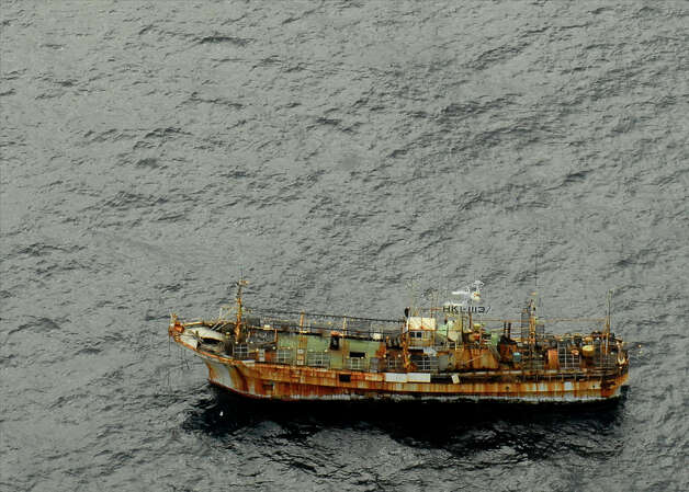 The Japanese fishing vessel Ryou-un Maru drifts unmanned and unlit northwest approximately 164 miles southwest of Baranof Island April 4, 2012. The vessel was first sighted in Canadian waters more than a week ago and at present course and speed is not in danger of grounding in the near future. Photo: Petty Officer 1st Class Sara Francis / USCG