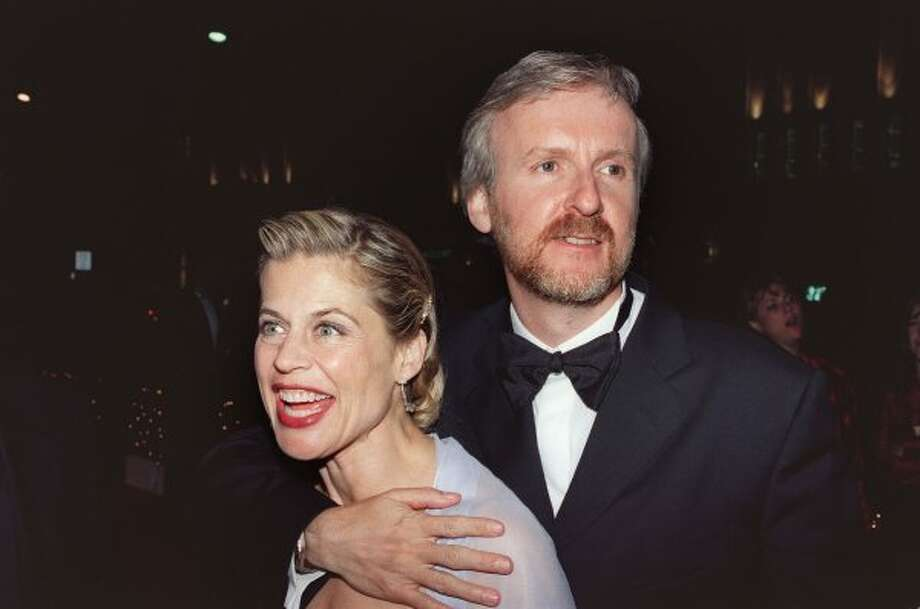 More hugginess. James Cameron and then wife Linda Hamilton with Oscar winnings in 1998. (Vince Bucci / AFP/Getty Images)